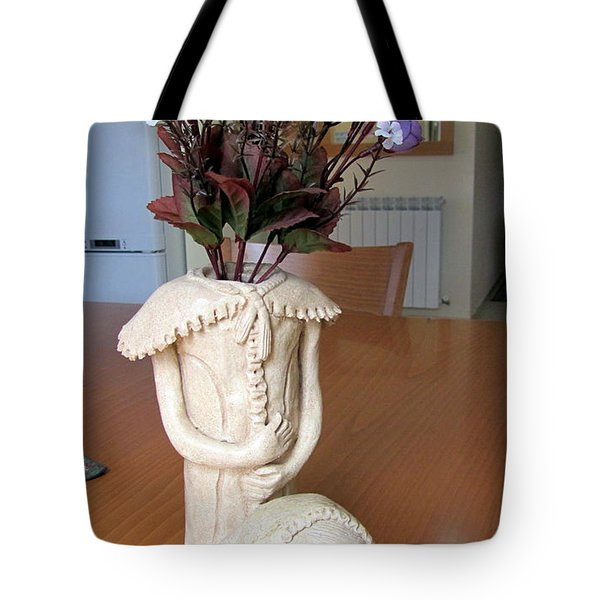 Flowers In My Head  Ceramic Vase Sculpture Of A Lady With A Removable Head Shoulder Pads Hands Face Tote Bag by Rachel Hershkovitz