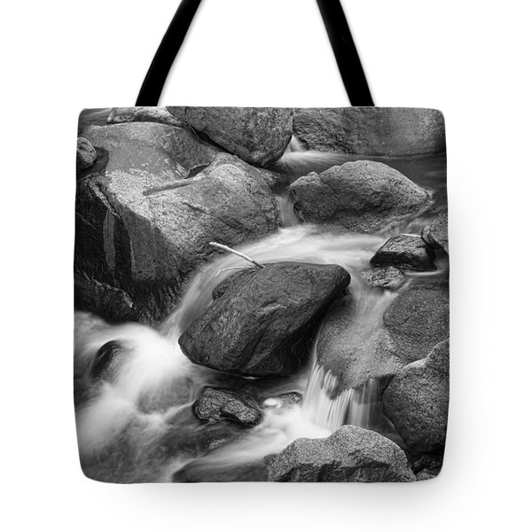 Flowing Water Down The Colorado St Vrain River Bw Tote Bag by James BO  Insogna