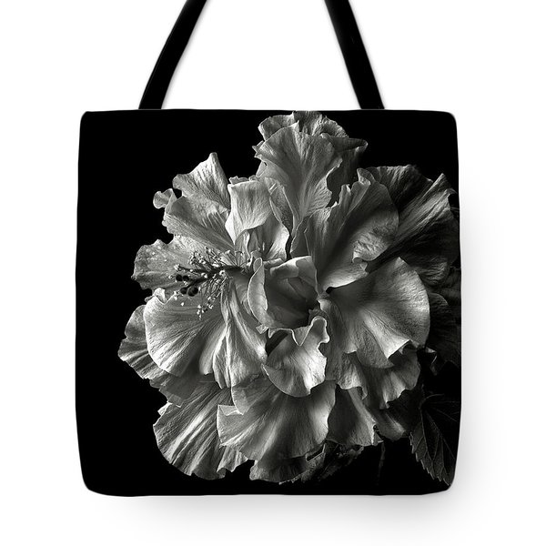 Fluffy Hibiscus In Black And White Tote Bag