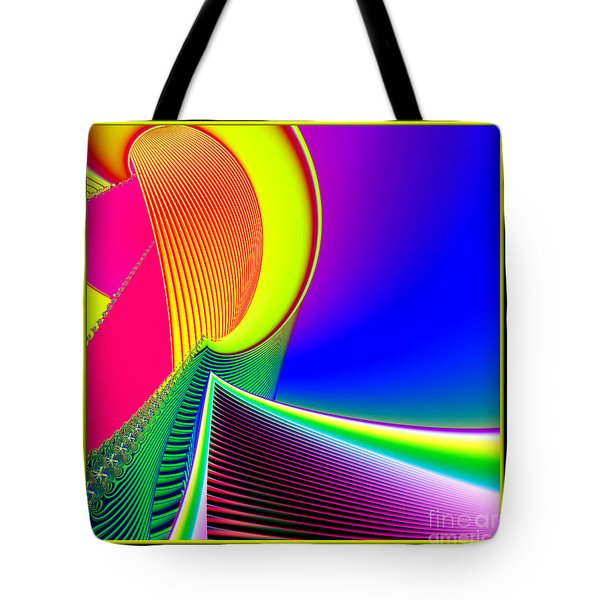 Fluorescent Boat And Giant Wave Fractal 95 Tote Bag by Rose Santuci-Sofranko