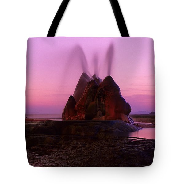 Fly Geyser Sunset 4 Tote Bag by Bob Christopher