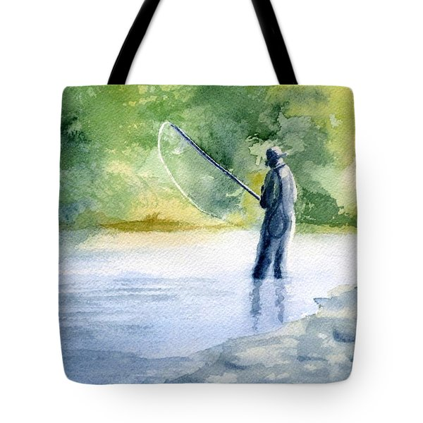 Tote Bag featuring the painting Flyfishing by Eleonora Perlic