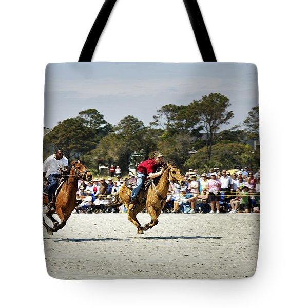 Flying At The Marsh Tacky Races Tote Bag by Phill Doherty