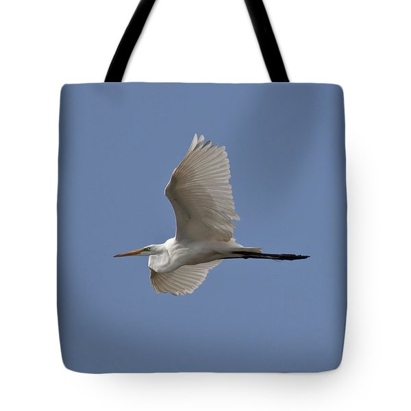 Flying Egret Tote Bag by Jeannette Hunt