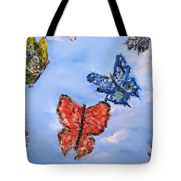 Tote Bag featuring the painting Flying by Evelina Popilian