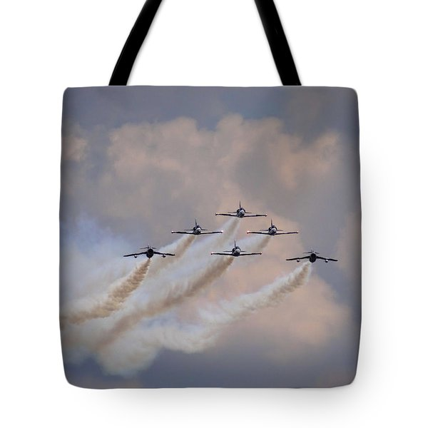 Flying In Formation Tote Bag by Julia Wilcox