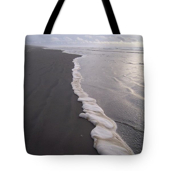 Tote Bag featuring the photograph Foamy Demarcation Line by Peter Mooyman