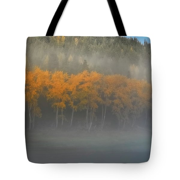 Foggy Autumn Morning Tote Bag by Albert Seger