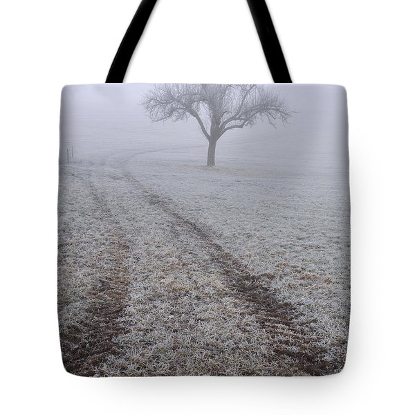 Foggy Landscape With Tree Tote Bag by Matthias Hauser