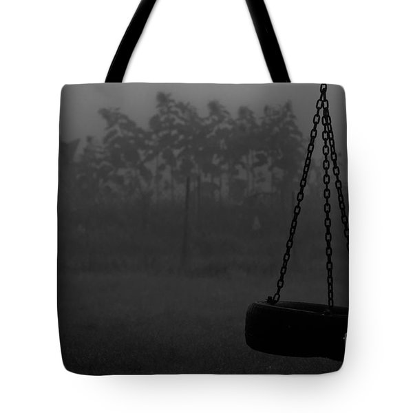 Tote Bag featuring the photograph Foggy Playground by Cheryl Baxter