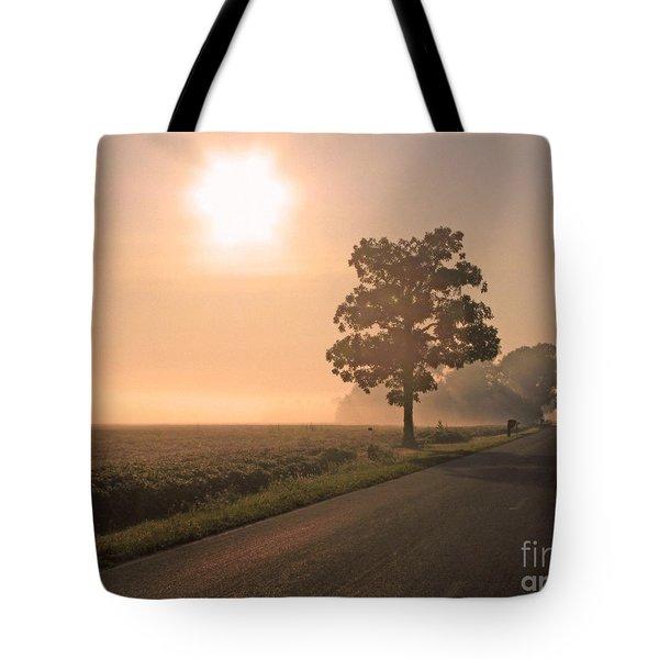 Foggy Sunrise On Soybean Field Tote Bag