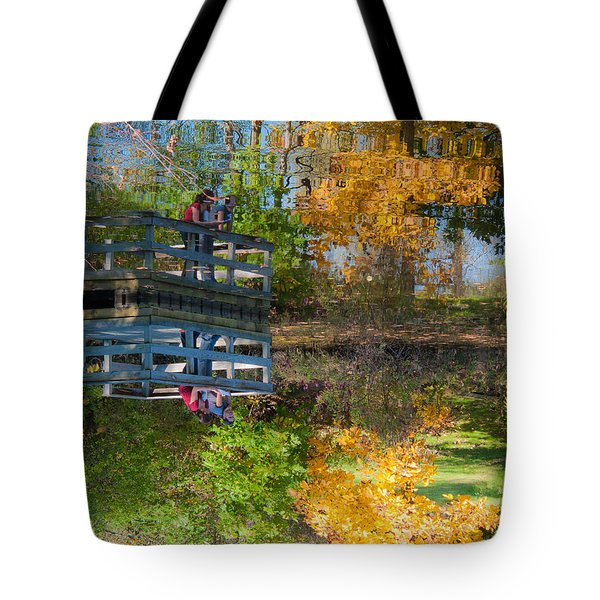 Foliage Scenary In Reflection Tote Bag by Jiayin Ma