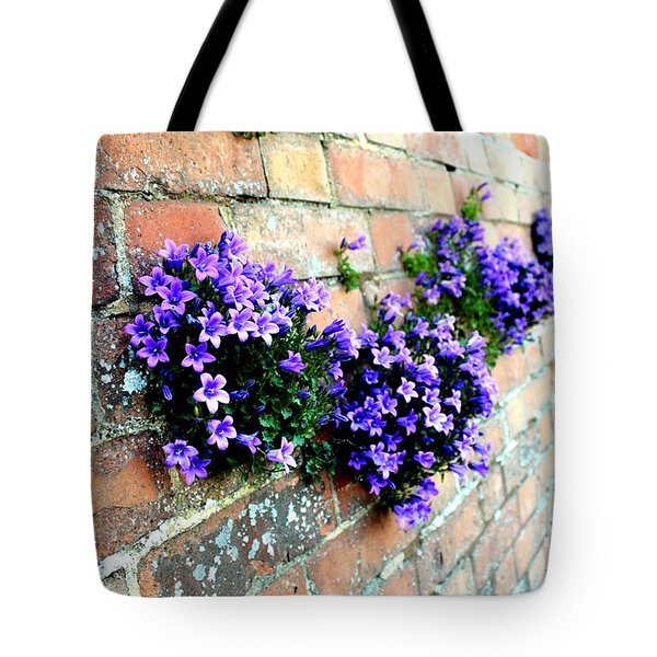 Follow The Flower Brick Wall Tote Bag by Rene Triay Photography