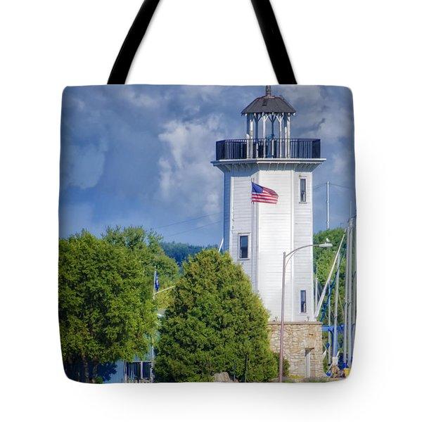 Fond Du Lac Lighthouse Tote Bag by Joan Carroll