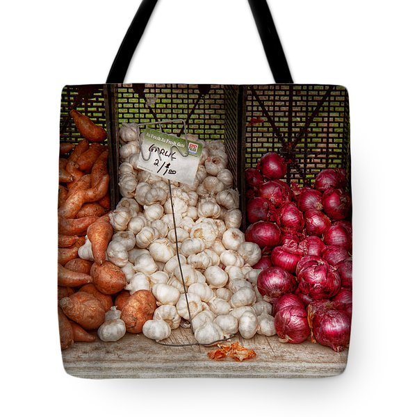 Food - Vegetable - Sweet Potatoes-garlic- And Onions - Yum  Tote Bag by Mike Savad