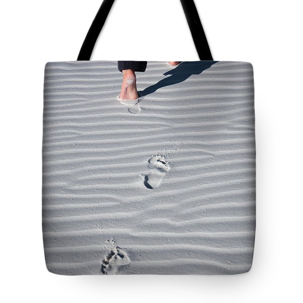 Footprint On White Sand Tote Bag