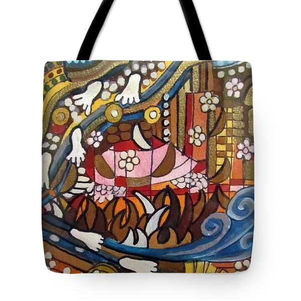 Footsteps To Peace Colorful Abstract Symbolism With Urban Cityscape Path Tracks Bird Dove Tote Bag by Rachel Hershkovitz
