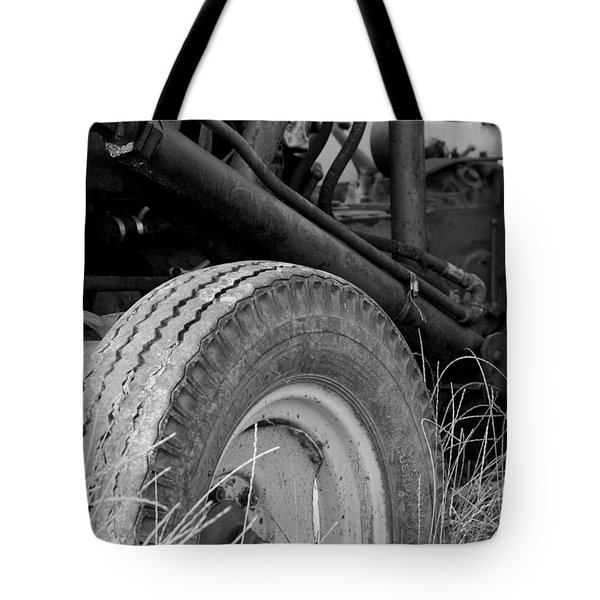 Tote Bag featuring the photograph Ford Tractor Details In Black And White by Jennifer Ancker