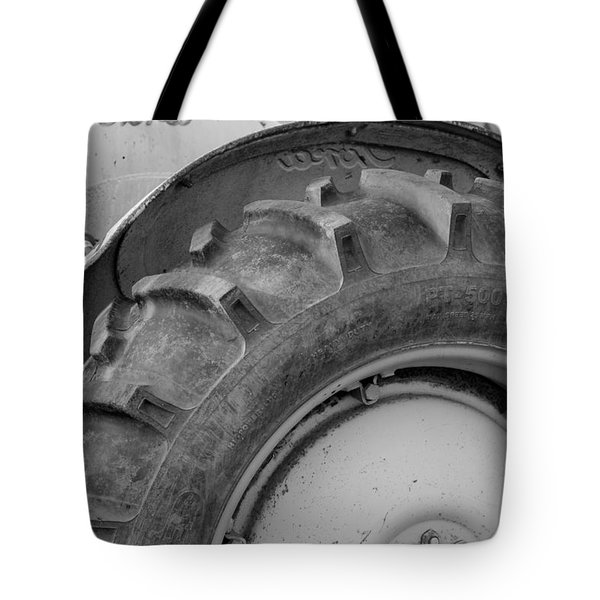 Ford Tractor In Black And White Tote Bag by Jennifer Ancker