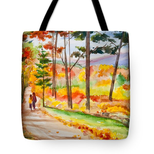 Forever Autumn Watercolor Painting Tote Bag by Michelle Wiarda