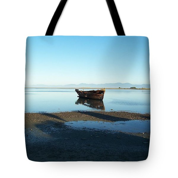 Tote Bag featuring the photograph Forgotten Boat Wreck Near Motueka by Peter Mooyman