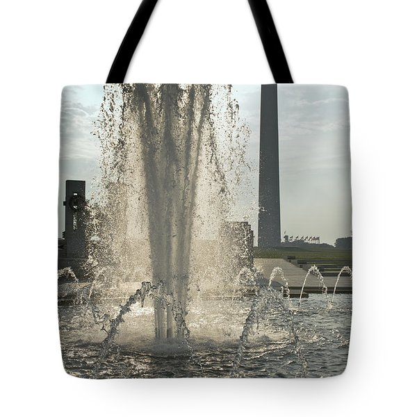 Tote Bag featuring the photograph Fountain And Monument by Jim Moore