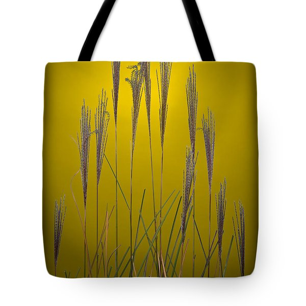 Fountain Grass In Yellow Tote Bag by Steve Gadomski