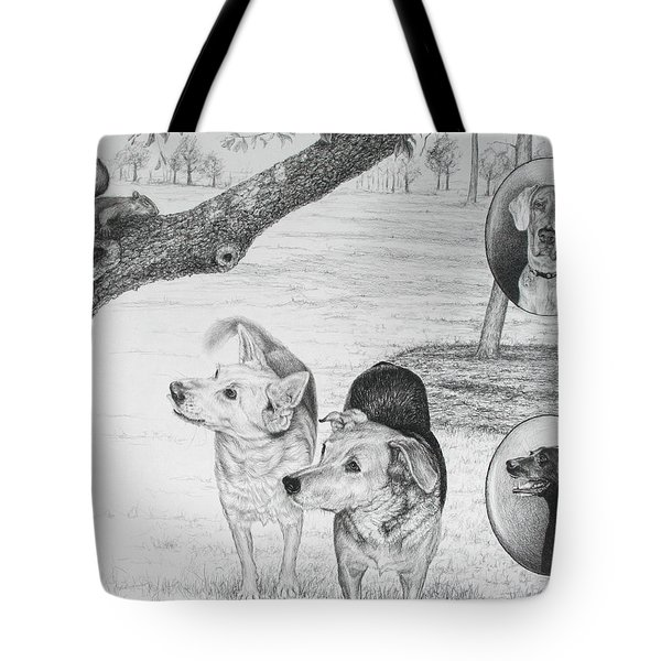 Tote Bag featuring the drawing Four Dogs And A Squirrel by Mike Ivey