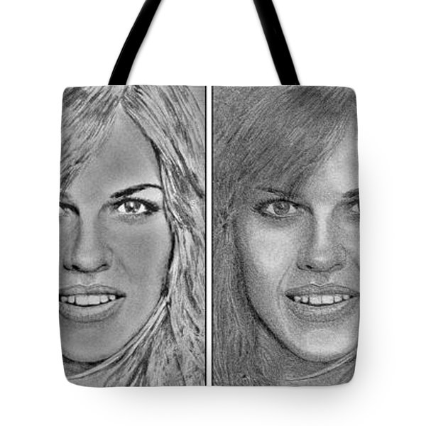 Four Interpretations Of Hilary Swank Tote Bag by J McCombie