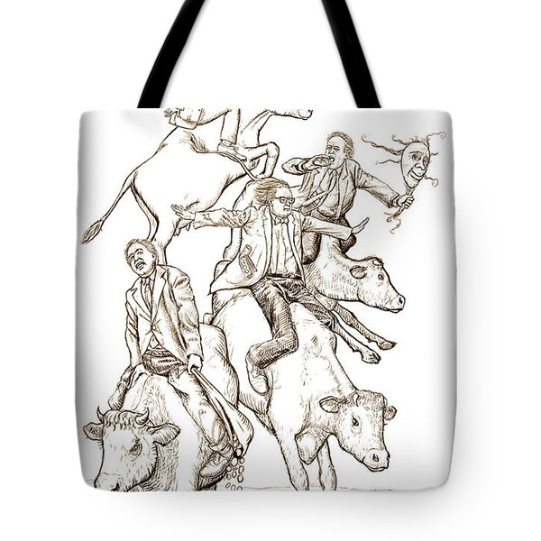 Tote Bag featuring the digital art Four Mad Cowboys Of The Apocalypse by Russell Kightley