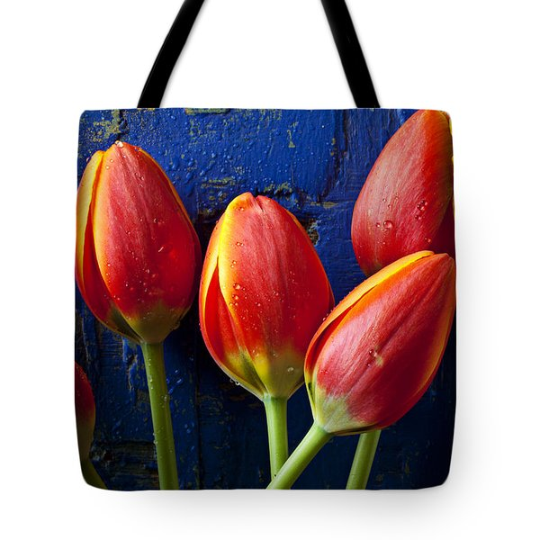 Four Orange Tulips Tote Bag by Garry Gay