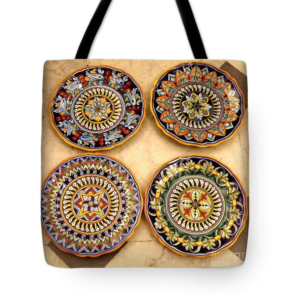 Four Plates Tote Bag by Tanya  Searcy