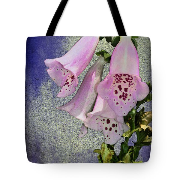 Fox Glove Blue Grunge Tote Bag by Bill Cannon