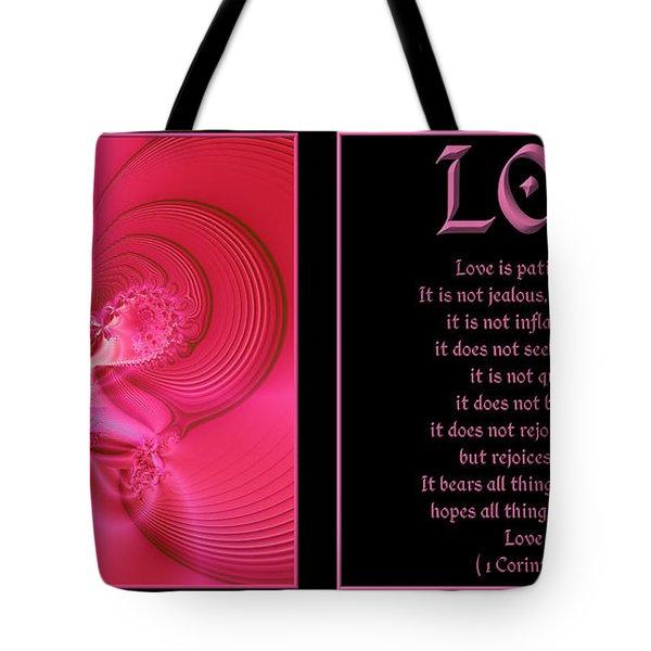 Fractal Love 1 Corinthians 13 Tote Bag by Rose Santuci-Sofranko