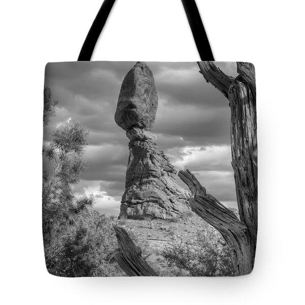 Framed Balance Rock Bw Tote Bag