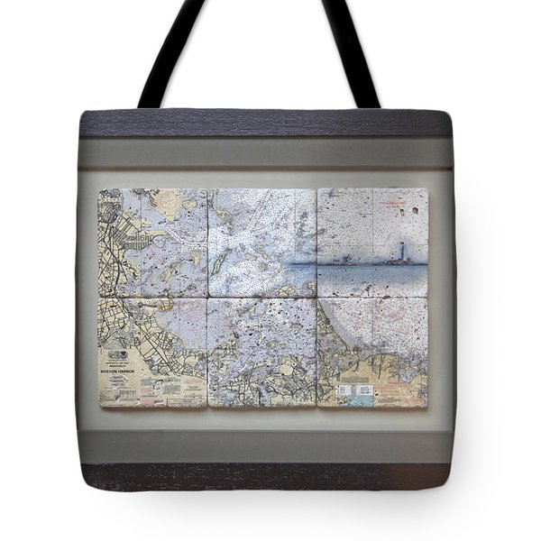 Framed Boston Harbor With Boston Light 6 Tile Set Tote Bag
