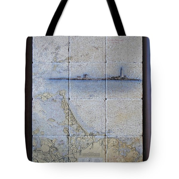 Framed Nautical Chart Of Hingham And Hull With Boston Light  Tote Bag