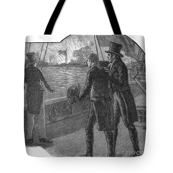 Francis Scott Key (1779-1843). American Lawyer And Poet. Witnessing The Bombardment Of Fort Mchenry, September 13-14, 1814: Wood Engraving, American, 1885 Tote Bag by Granger