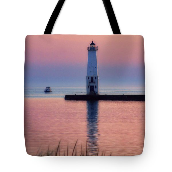 Tote Bag featuring the photograph Frankfort Lighthouse by Joan Bertucci
