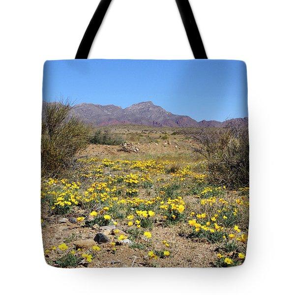 Franklin Mt. Poppies Tote Bag by Kurt Van Wagner