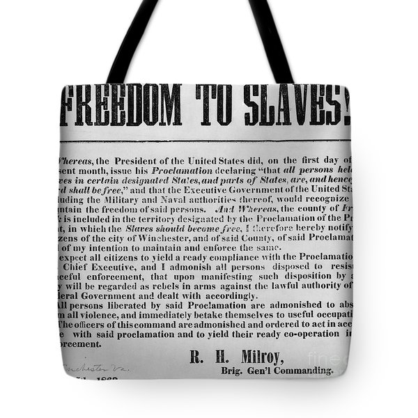 Freedom To Slaves Tote Bag by Photo Researchers