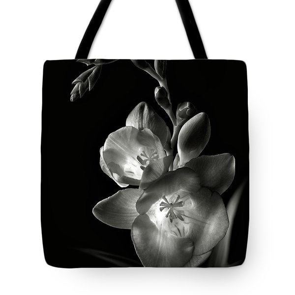Freesia In Black And White Tote Bag