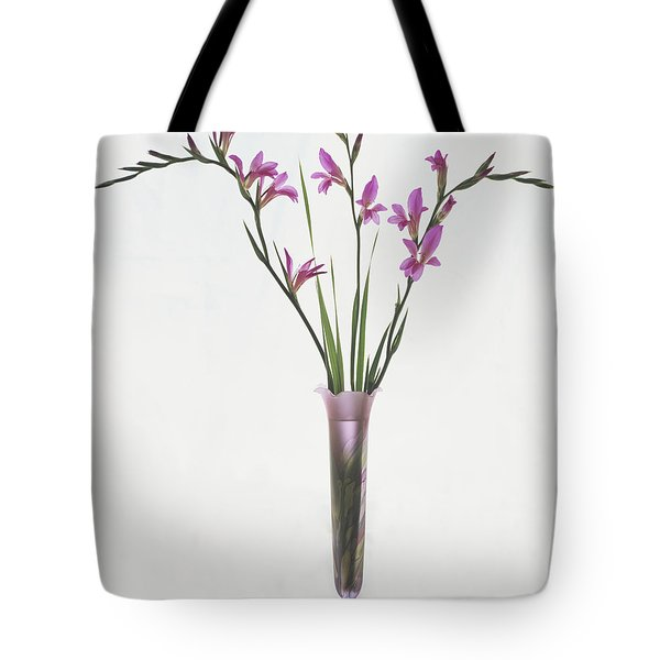 Tote Bag featuring the photograph Freesias In Vase by Susan Rovira