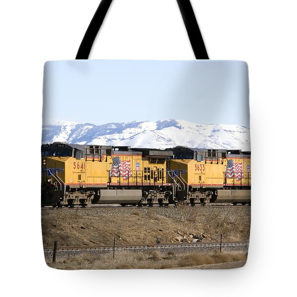 Freight Train East Of Boise Tote Bag by David R Frazier and Photo Researchers