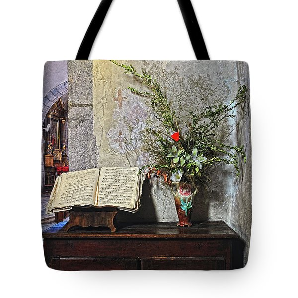 Tote Bag featuring the photograph French Church Decorations by Dave Mills