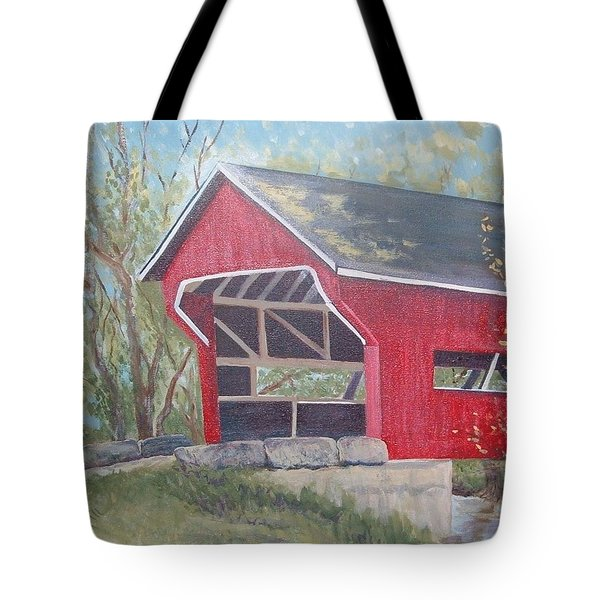 French Lick Covered Bridge Tote Bag by Julie Cranfill