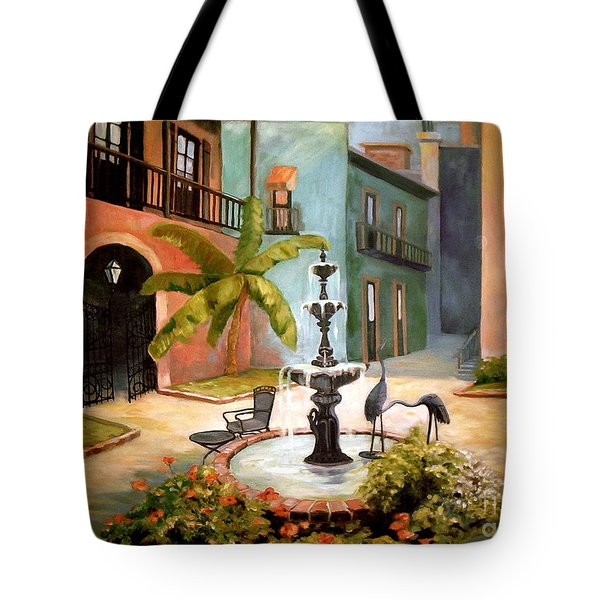 French Quarter Fountain Tote Bag by Gretchen Allen