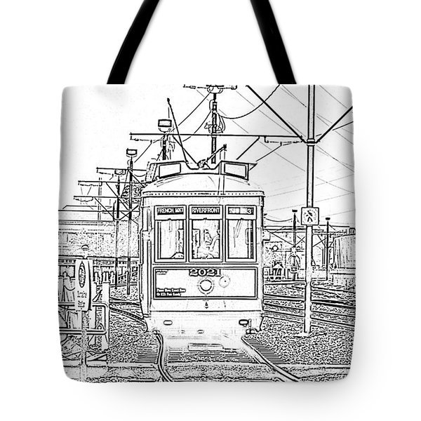 French Quarter French Market Cable Car New Orleans With Photocopy Tote Bag by Shawn O'Brien
