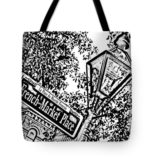 French Quarter French Market Street Sign New Orleans Photocopy Digital Art Tote Bag by Shawn O'Brien