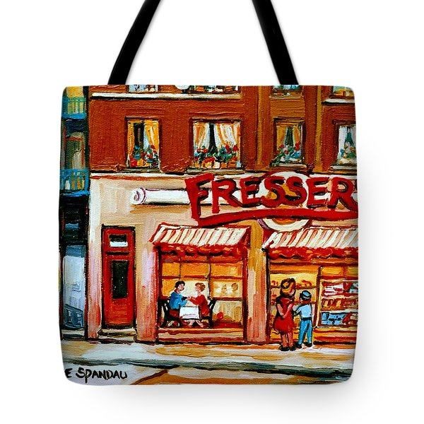 Fressers Deli Decarie Boulevard Montreal City Scenes Tote Bag by Carole Spandau